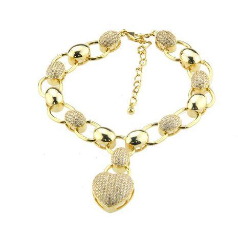 South American hot heart-shaped diamond bracelet copper plated zircon micro-elliptical bracelet NHBP178183's discount tags