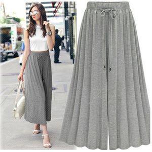 2019 cintura elástica adelgazante pantalones anchos pantalones casuales sueltos de mujer pantalones anchos salvajes NHjc177989