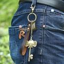 Fashion Wholesale Bronze alloy elephant nose leather keychain girl bag pendant car leather keychain NHPK178098
