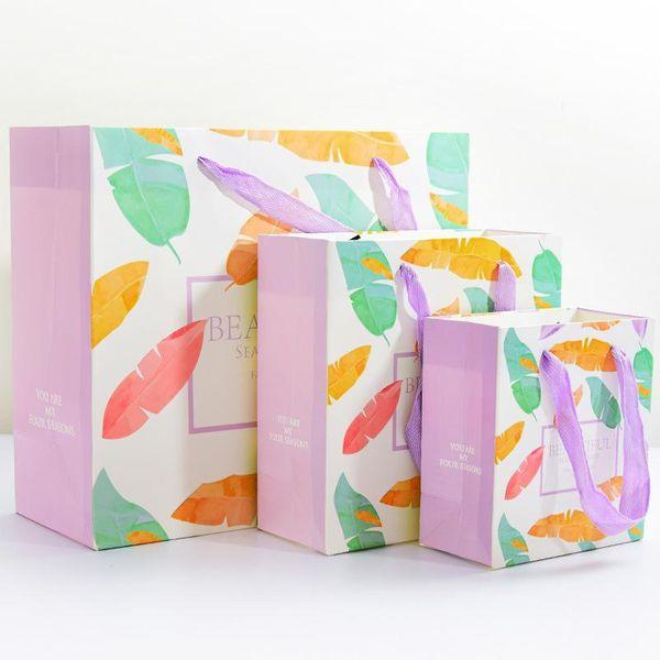 Simple gift bag big medium and small beautiful girl birthday gift bag portable paper bag wholesales fashion NHHE178395