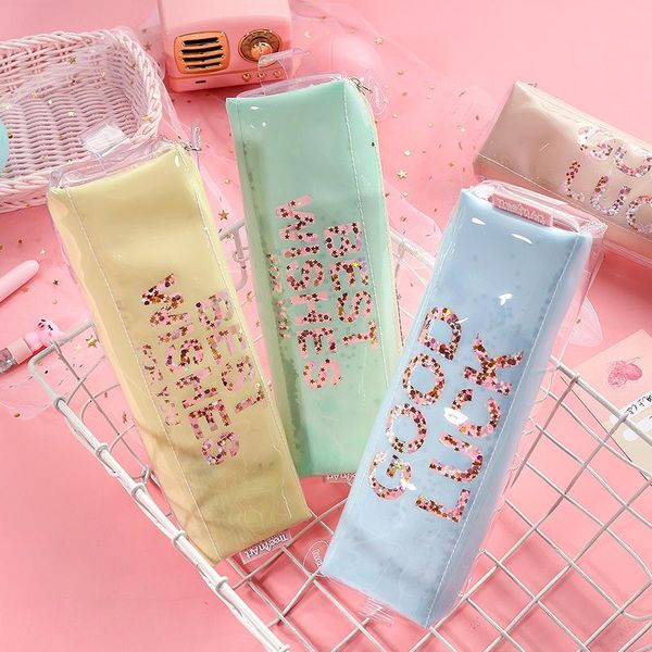 Pencil case transparent stationery bag simple large capacity stationery pencil case stationery wholesale NHHE178396