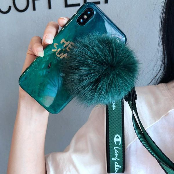 Applicable Apple xs max hair ball phone case 6s emerald iPhone8 lanyard 7plus female XR NHJP178390