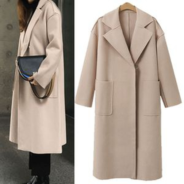 2019 autumn and winter new European and American solid color cashmere in the long woolen coat female NHjc177988