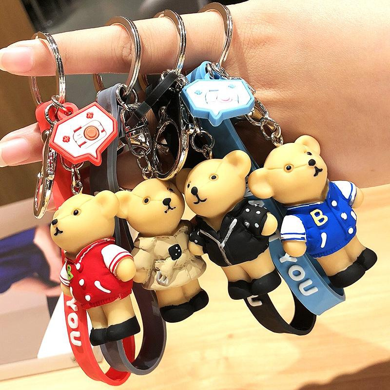 Men and women cartoon bear key chain personality backpack couple pendant key ring gift wholesale NHCB178404