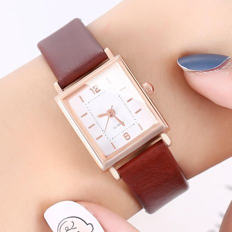 New watch ladies personality square shell fashion digital Roman scale belt quartz watch wholesales fashion  NHHK178341's discount tags