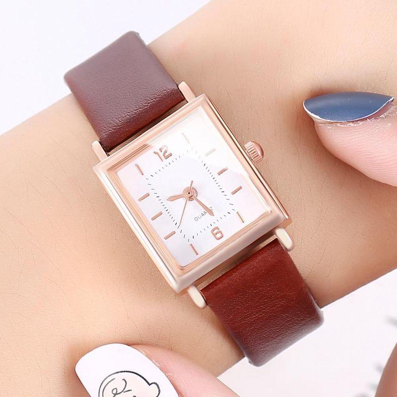New watch ladies personality square shell fashion digital Roman scale belt quartz watch wholesales fashion  NHHK178341
