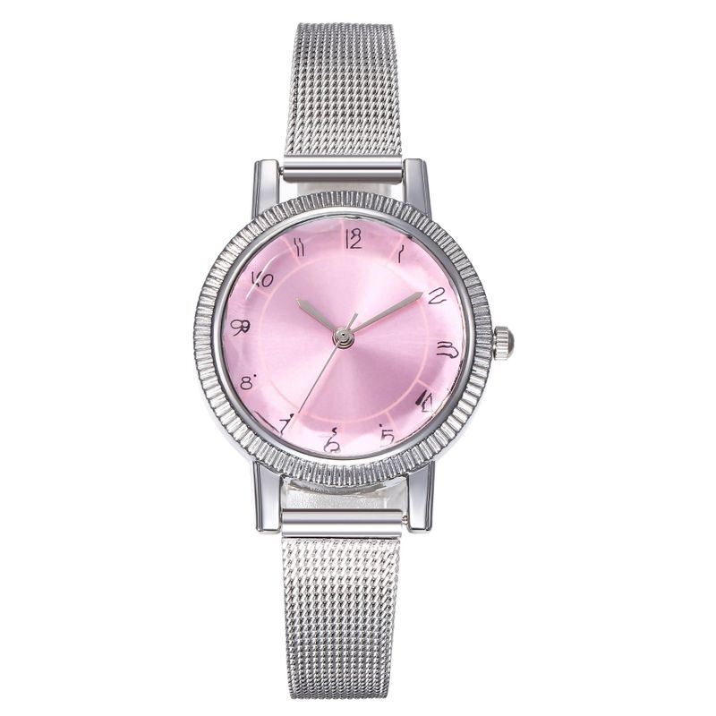 New watch ladies fashion digital scale colorful silver mesh with prismatic glass quartz watch wholesales fashion  NHHK178349