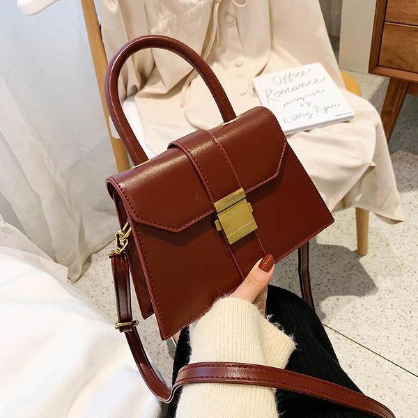 New fashion handbag retro simple port wind buckle wide shoulder shoulder Messenger bag NHPB178595