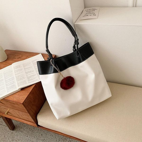 Large-capacity literary thick canvas bag female new simple casual shoulder bag NHPB178607