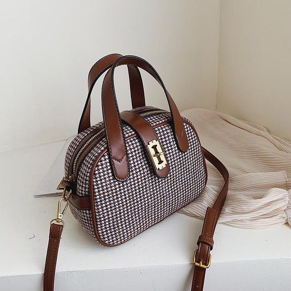 New retro fashion wild color plaid portable small square bag casual lock single shoulder diagonal package NHPB178611