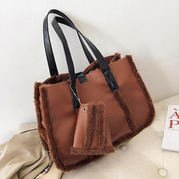 Autumn and winter fur large capacity handbag female with plush pendant one shoulder tote bag wholesales fashion NHPB178637