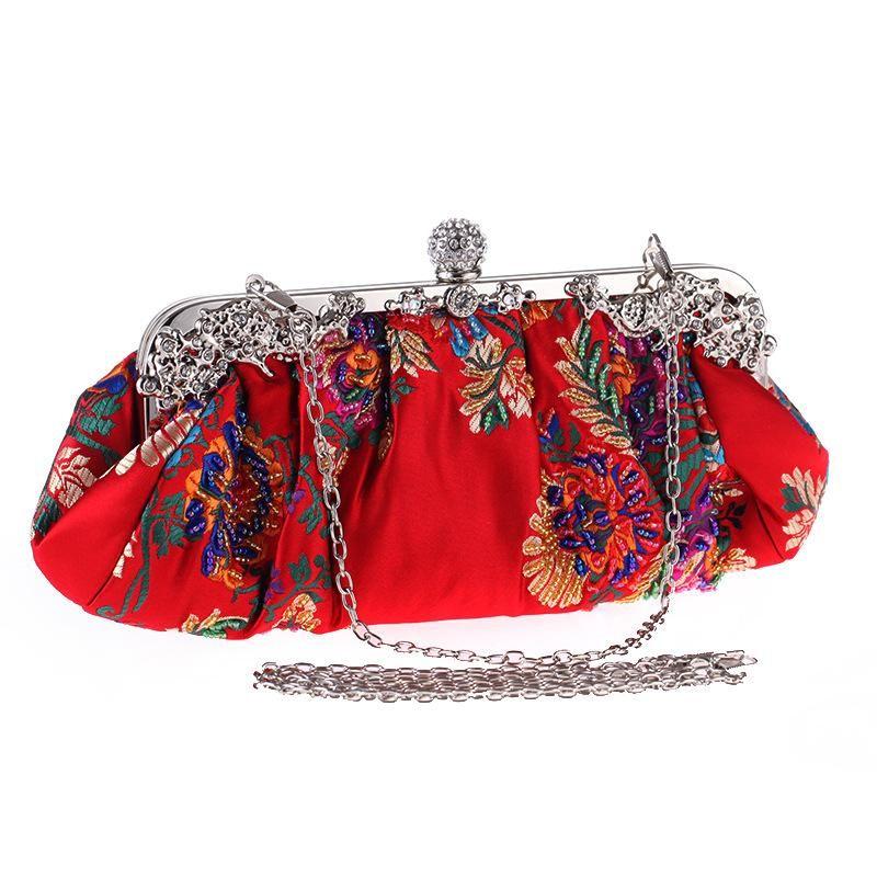 Beaded embroidered evening bag hand-embroidered women's bag dress bag with retro cheongsam bag NHYG178967