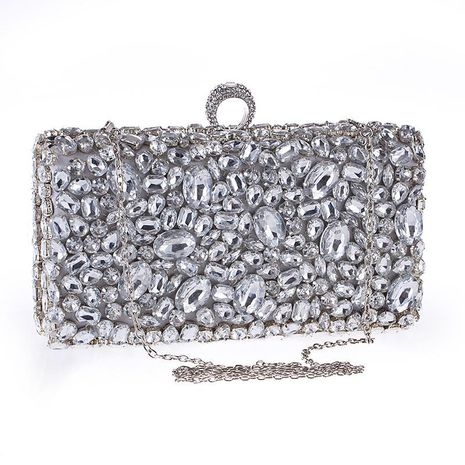 Style acrylic diamond chain women's clutch bag cross section square evening party handbag NHYG178975's discount tags