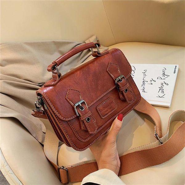 New retro portable messenger bag female simple fashion wide shoulder shoulder diagonal small square bag NHPB178668