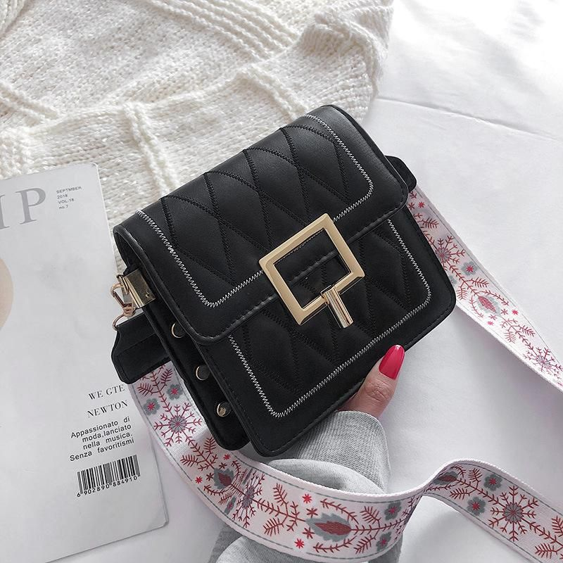 New small bag female embroidery thread small square bag fashion rhombic wide shoulder Messenger bag NHXC178917