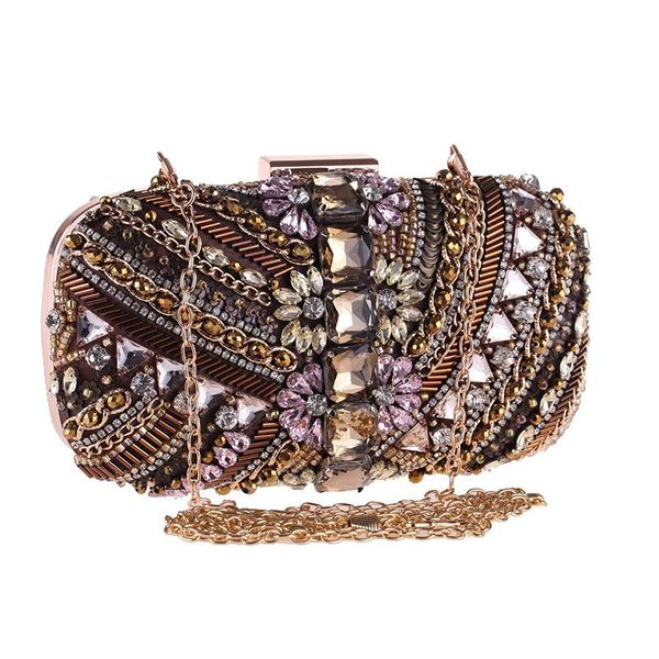 Bag female new handmade beaded evening dress dress banquet bag set diamond clutch NHYG178984