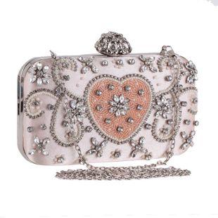 Bolso de mujer nuevo hecho a mano con cuentas corazón de melocotón vestido de noche vestido de noche bolso de banquete diamante embrague de mujer NHYG178986's discount tags