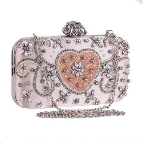 Women's bag new handmade beaded peach heart evening dress evening dress banquet bag diamond women's clutch NHYG178986's discount tags