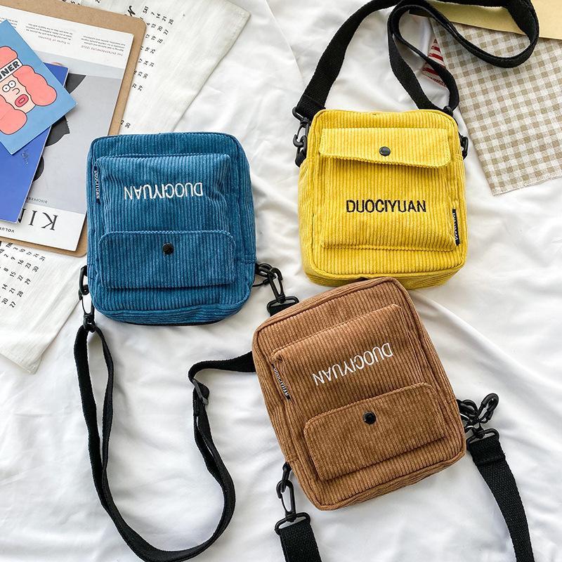 Bolso de hombro retro de lona de pana letras de bordado minimalista literario bolsa de teléfono móvil para estudiantes NHHX178942