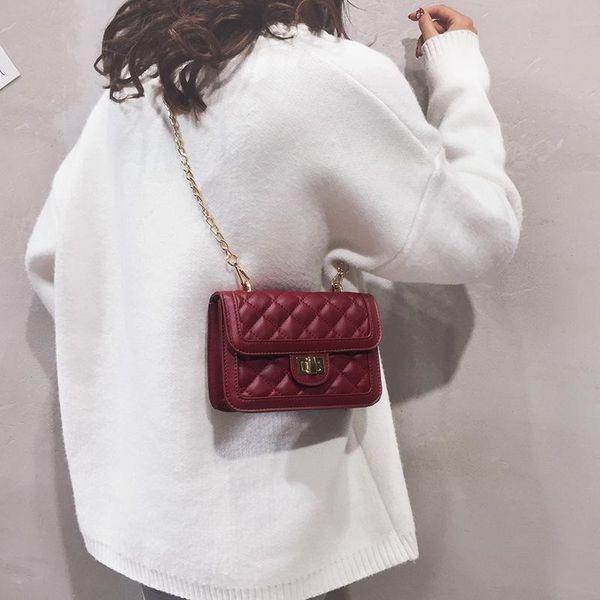 Nueva moda simple cadena rómbica bolso cuadrado pequeño cerradura de color sólido solo hombro Messenger bag NHPB178666