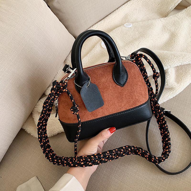 New Simple Fashion Scrub Rope Shoulder Tote Retro Strap Color Crossbody Bag NHPB178703