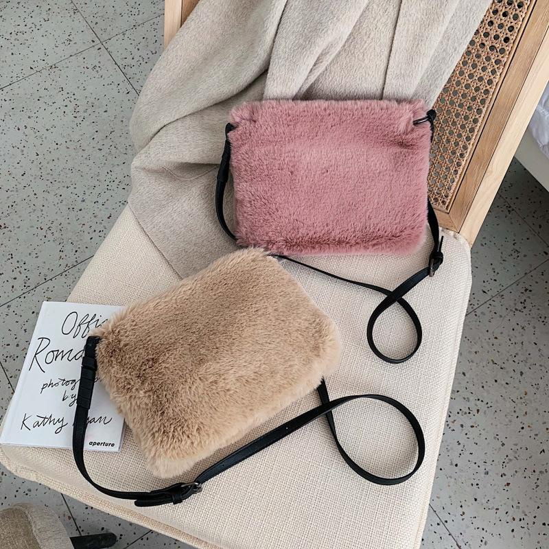New retro casual plush chain shoulder bag simple fashion Messenger bag NHPB178763