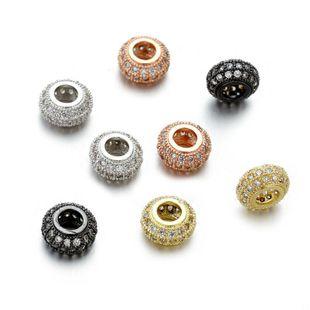Hecho a mano DIY de cuatro colores con incrustaciones de cobre circonio rueda agujero redondo cuentas sueltas pulsera collar colgante de joyería NHZU178826's discount tags