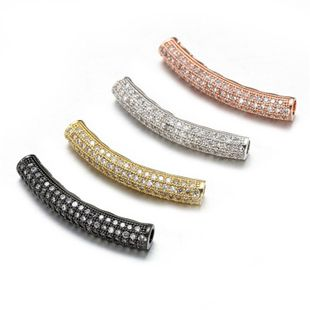 Joyería caliente de cobre con incrustaciones de circonio lleno de diamantes patrón de cuatro colores tubo curvo pulsera collar de perlas sueltas accesorios colgante NHZU178829's discount tags