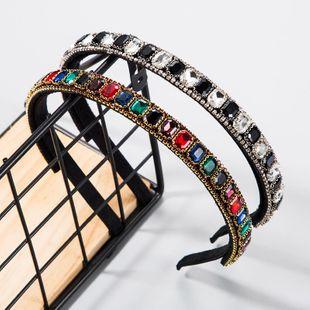 Diadema de diamantes de color de vidrio con incrustaciones de tela moda super flash aro de taladro de agua venta caliente NHLN178871's discount tags
