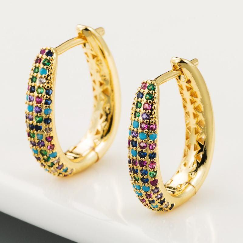 Creative simple fashion copper micro-set color zircon earrings female U-shaped geometric full diamond earrings NHLN178866