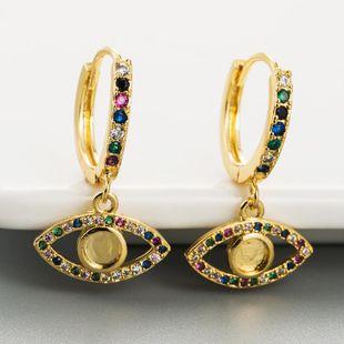 Moda cobre micro-set color zircon aretes pendientes de ojo de mujer NHLN178869's discount tags