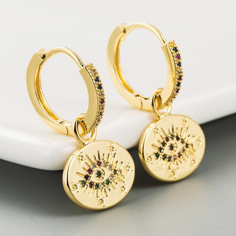 Fashion retro female earrings devil's eye micro-set rainbow zircon earrings NHLN178868