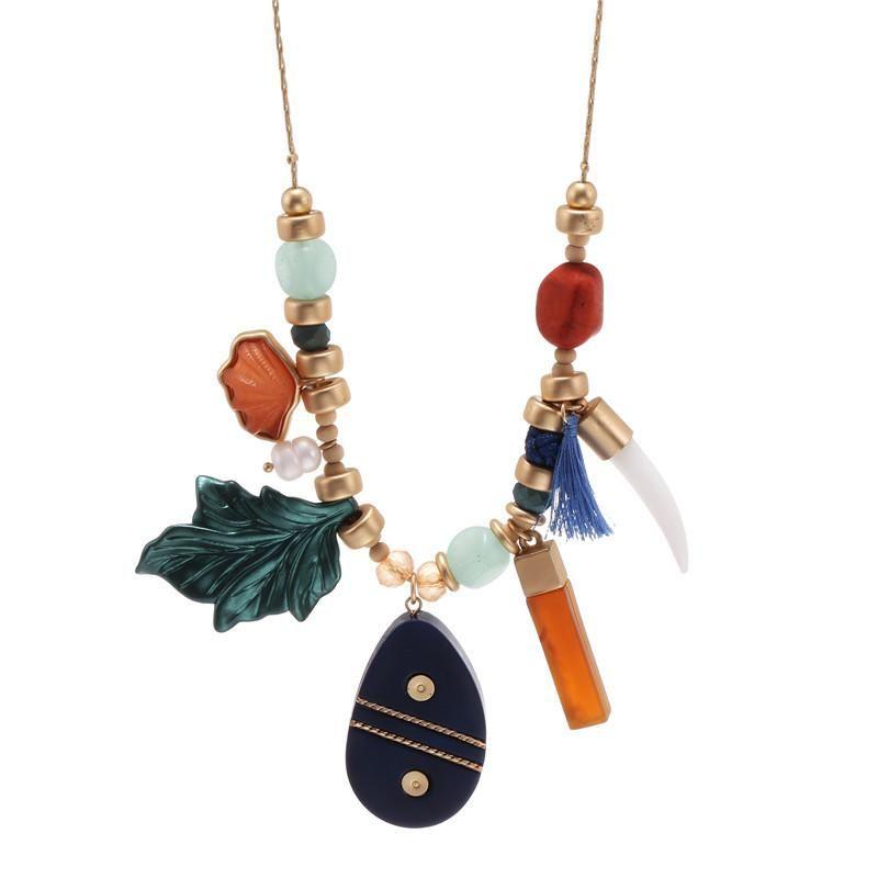 Explosion models hot bohemian geometry leaf gravel pendant combination necklace female NHZU178804