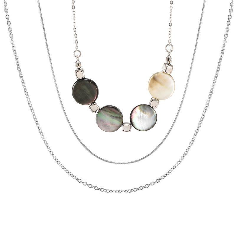 Hot jewelry fashion retro multi-layer long metal shell pendant geometric necklace NHZU178822