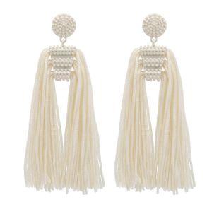 Pendientes combinados de perlas blancas con flecos de temperamento simple NHZU178803's discount tags