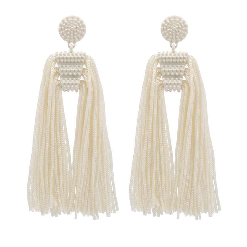 Simple temperament long white fringed beads combination earrings NHZU178803