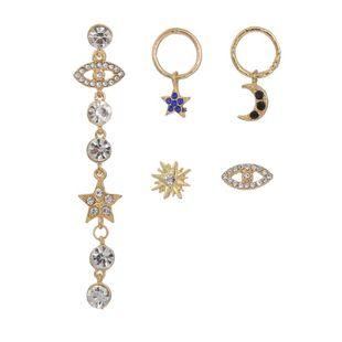 Explosión de joyas creativas con incrustaciones de diamantes y ojos de estrella de cinco puntas pendientes irregulares para mujeres NHZU178838's discount tags