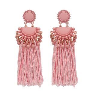 Pendientes largos con borlas largas y rosas negras NHZU178839's discount tags