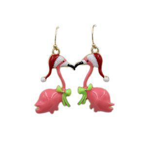Venta de pequeños pendientes de grúa de cisne navideños rosados frescos y encantadores para mujer NHZU178849's discount tags