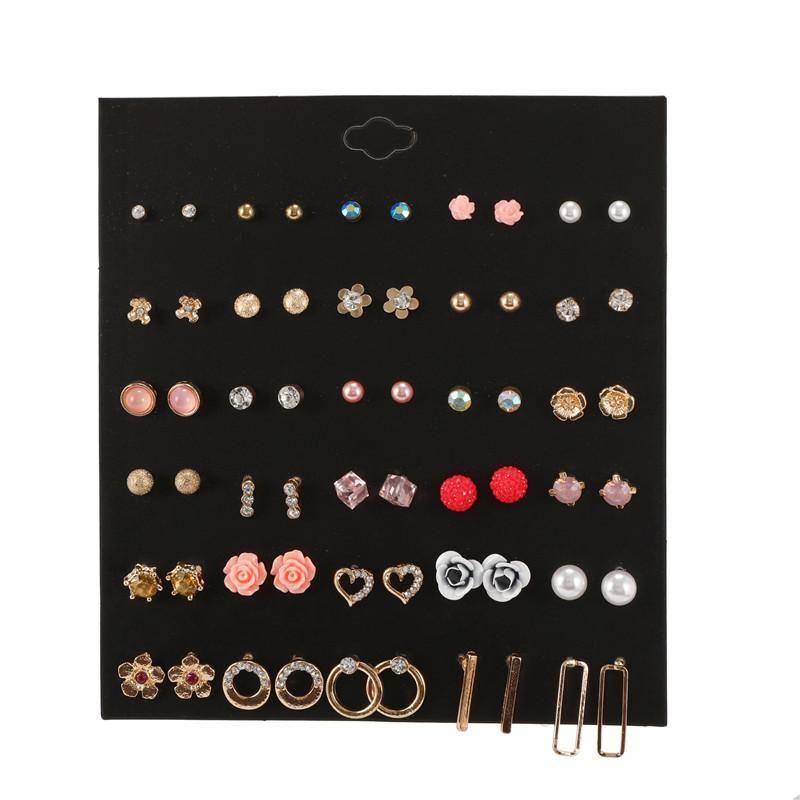 Fashion color flower pearl rhinestone geometric combination earrings NHZU178794