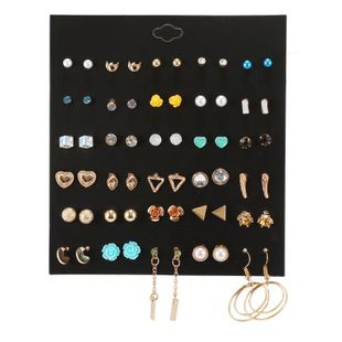 Temperamento salvaje 30 pares de cadena de aleación de perlas amor combinación pendientes geométricos NHZU178799's discount tags