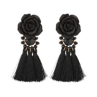 Moda tendencia retro grandes pendientes de borla de flores negras femeninas NHZU178818's discount tags