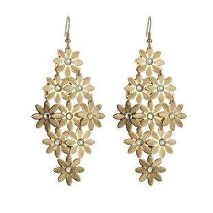 Pendientes de flores largos de oro y plata chapados en aleación de temperamento hermoso vintage NHZU178852's discount tags
