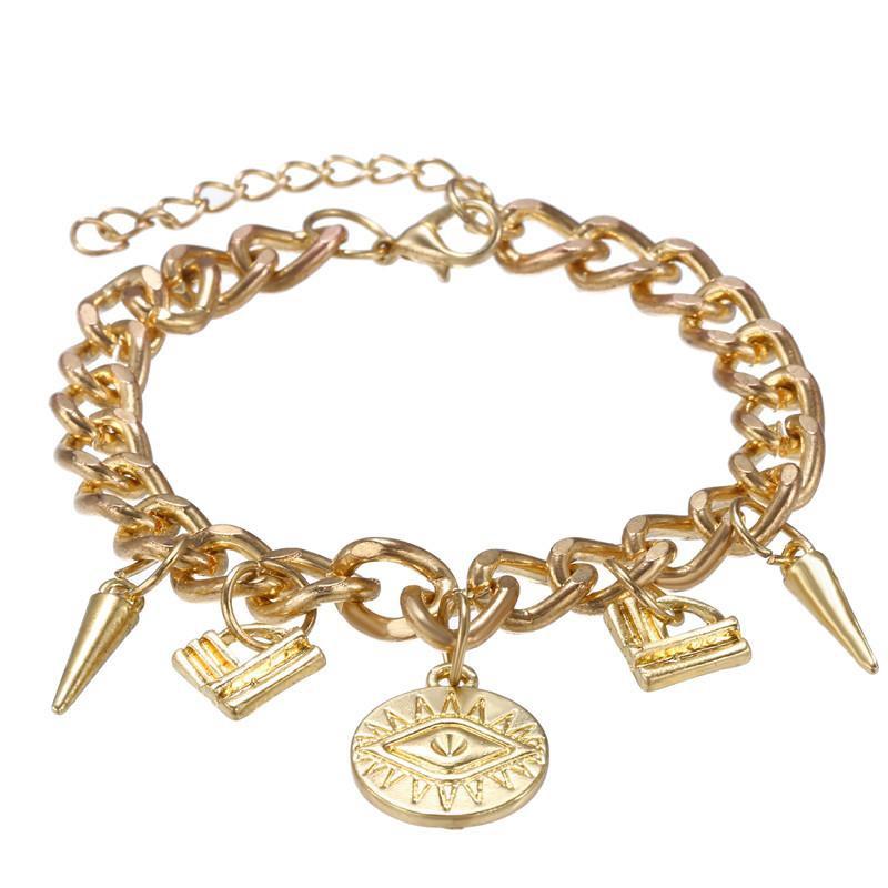Hot Creative Alloy Chain Lock Devil's Eye Pendant Geometric Bracelet NHZU178802