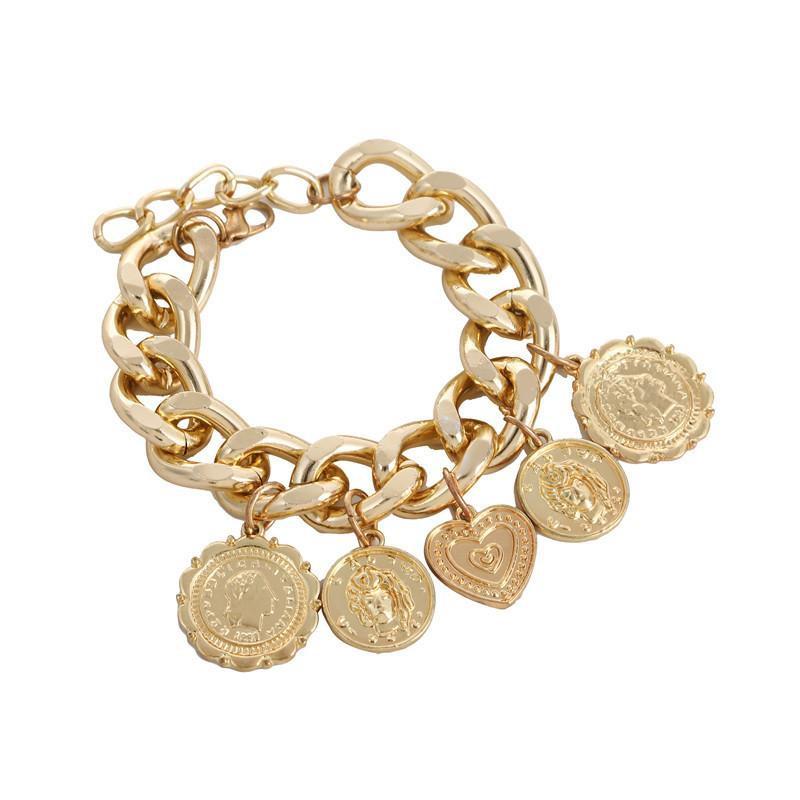 Popular creative new alloy chain person avatar heart bracelet NHZU178809
