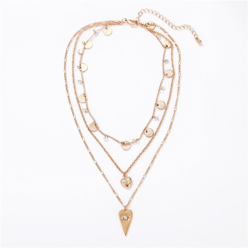 New hot fashion fashion simple drop love tassel round three-layer combination necklace clavicle chain female NHZU178815