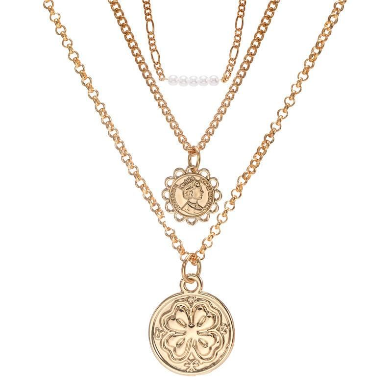 Hot sale jewelry multilayer long head fourleaf clover pendant necklace NHZU178820