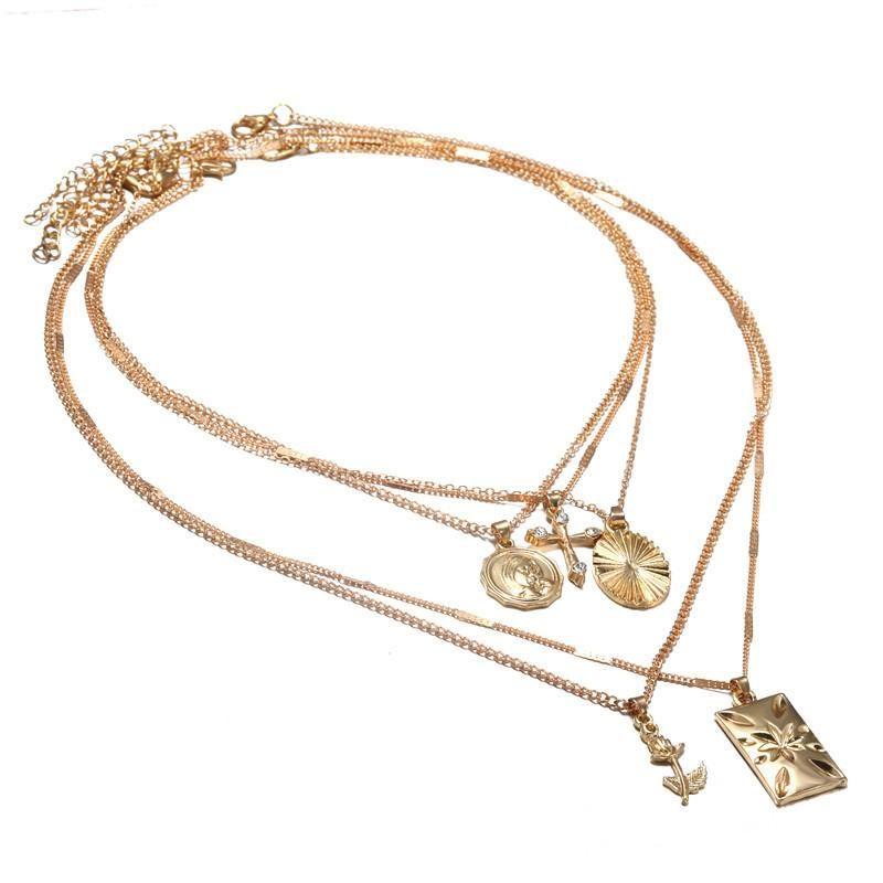 Hot multi-layer diamond-studded cross rose pendant necklace NHZU178824
