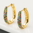 Creative simple fashion copper microset color zircon earrings female Ushaped geometric full diamond earrings NHLN178866