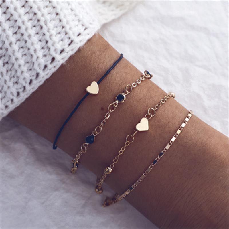 Jewelry alloy heart multi-layer small fresh beach wind bracelet love hand chain NHKQ179072